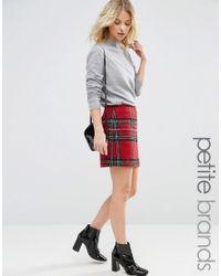 New Look - Red Tartan Mini Skirt - Lyst