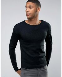 Only & Sons | Black Sweater With Raw Hem And Dropped Back Seam for Men | Lyst
