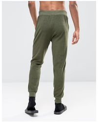 ASOS   Green Towelling Skinny Joggers With Contrast Piping In Khaki for Men   Lyst