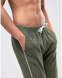 ASOS - Green Towelling Skinny Joggers With Contrast Piping In Khaki for Men - Lyst