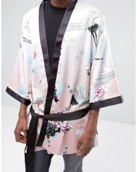 Jaded London - Pink Kimono In Floral Print for Men - Lyst