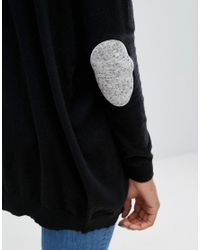 ASOS   Black Swing Cardigan With Gray Oval Elbow Patch   Lyst