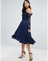 ASOS | Blue Kate Lace Long Sleeve Midi Dress | Lyst