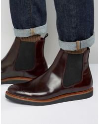 House Of Hounds - Red Chelsea Boots With Brogue Detail for Men - Lyst