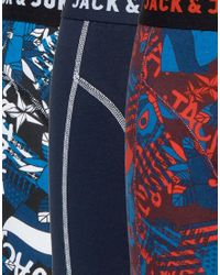 Jack & Jones - Blue Trunks 3 Pack Graffiti Print for Men - Lyst