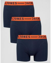 Jack & Jones | Blue Trunks 3 Pack With Contrast Waistband for Men | Lyst
