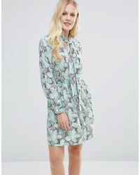 Closet - Blue Closet Pussy Bow Floral Print Dress - Green Navy And Whit - Lyst