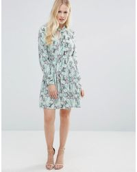 Closet | Blue Closet Pussy Bow Floral Print Dress - Green Navy And Whit | Lyst
