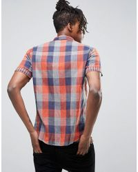 Another Influence - Orange Check Shirt for Men - Lyst