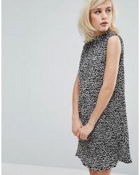 Fashion Union | Black High Neck Sleeveless Plisse Dress | Lyst