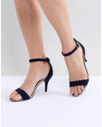 6722dd48ec15 Oasis Barely There Heeled Sandals in Blue - Lyst