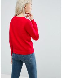 ASOS - Red Jumper In Ripple Stitch - Lyst