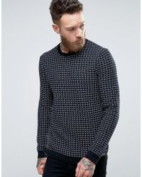 HUGO | Blue By Boss Srid Jumper Grid Knit In Navy/black for Men | Lyst
