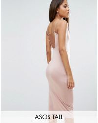 ASOS | Pink Slinky Midi Dress With Strappy Tie Back | Lyst