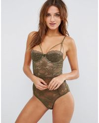 ASOS | Green Anastasia Lace Half Cup Strappy Body | Lyst