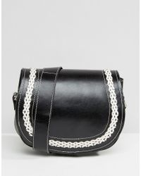 Park Lane Real Leather Cross Body Bag With Contrast Stitching in ... 4a83d57a114b1