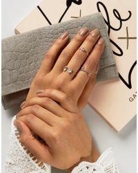 ASOS - Metallic Pack Of 3 Rose Gold Jewel Rings - Lyst