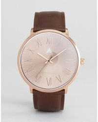 ASOS - Brown Watch With Faux Leather Strap & Rose Gold Face for Men - Lyst