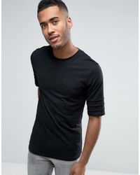 Jack & Jones | Black Core Longline T-shirt With Chest Patch for Men | Lyst