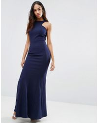 d88390c8 Club L Racer Front Maxi Dress In Crepe in Blue - Lyst