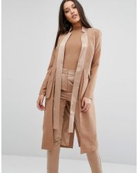 Lavish Alice | Brown Longline Blazer With Satin Lapels | Lyst