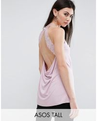 ASOS | Purple Cami Top With Lace Open Back | Lyst