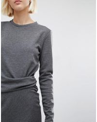 Warehouse - Gray Side Rouch Detail Dress - Lyst