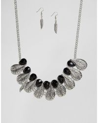 Ruby Rocks - Metallic Feather Detail Necklace And Earring Set - Lyst