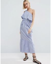 ASOS | Blue Cotton One Shoulder City Maxi Dress | Lyst