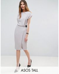 ASOS | Gray Drape Front Pencil Dress With Elastic Detail | Lyst