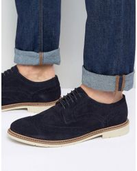 Tommy Hilfiger | Blue Metro Suede Brogue Shoes for Men | Lyst