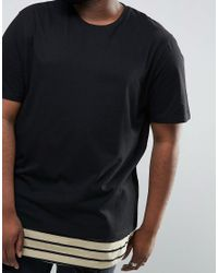 ASOS - Black Plus Super Longline T-shirt With Scoop Neck And Stripe Hem Extender for Men - Lyst