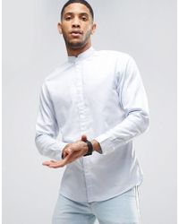 SELECTED - Blue Shirt With Grandad Collar In Slim Fit for Men - Lyst