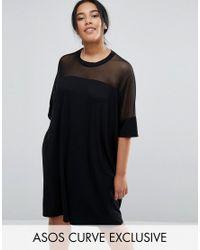 ASOS   Black T-shirt Dress With Mesh Yoke Detail   Lyst