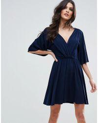 ASOS | Blue Slinky Knot Back Kimono Dress | Lyst