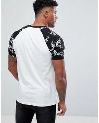 ASOS - White Design T-shirt With Floal Printed Raglan Sleeve for Men - Lyst