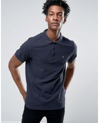 Farah | Blue Blaney Pique Polo Slim Fit In Navy Marl for Men | Lyst
