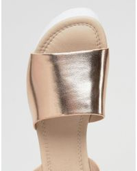 ASOS - Metallic Take Off Wedge Sandals - Lyst