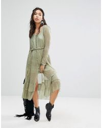 Free People - Green Shine Maxi Dress With Glitter Detailing - Lyst
