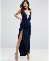 ASOS - Blue Ruched Cami Super Thigh Split Maxi Dress - Lyst