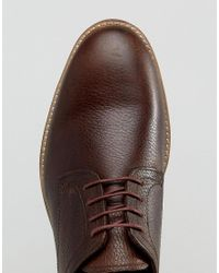 Red Tape - Derby Shoes In Milled Brown Leather for Men - Lyst