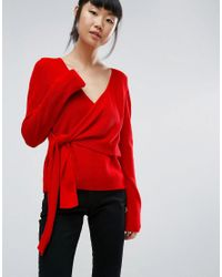 Asos Sweater With Wrap And Tie in Red | Lyst