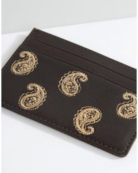 ASOS - Brown Leather Cardholder With Paisley Embroidery for Men - Lyst