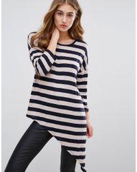 ONLY | Blue Asymmetrical Fine Gauge Stripe Knit Sweater | Lyst