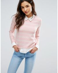 ONLY | Pink Shirt Detail Sweater | Lyst