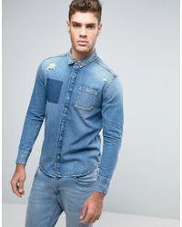 Calvin Klein Jeans | Blue Distressed Slim Fit Denim Shirt for Men | Lyst