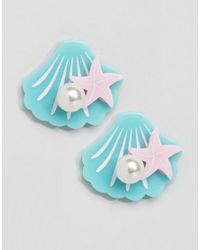ASOS | Blue Limited Edition Mermaid Shell Earrings | Lyst