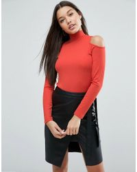 ASOS | Orange Top With Cold Shoulder And High Neck In Clean Rib | Lyst