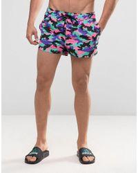 Men's Blue Swim Shorts With Bright Camo In Super Short Length