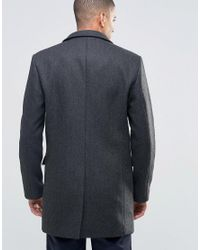 SELECTED - Black Herringbone Overcoat With Detachable Lining for Men - Lyst